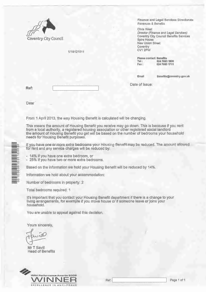 coventry bedroom tax council letter 2