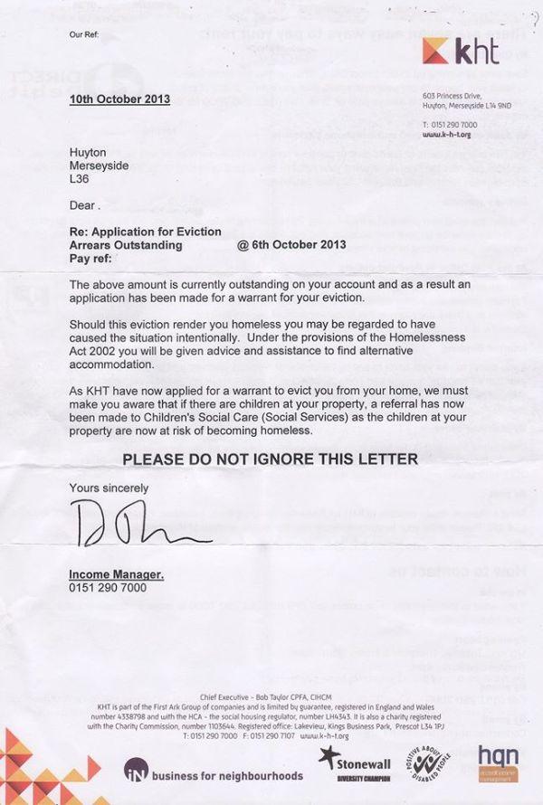 kht threat letter socil services